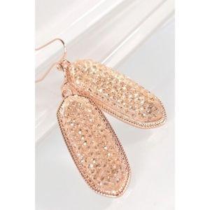 Pink Druzy Dangle Earrings